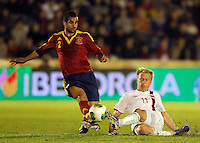 Spain's Montoya (l) and Norway's Nielsen during international sub21 match.March 21,2013. (ALTERPHOTOS/Acero) /NortePhoto