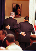 Washington, DC - July 1, 1999 -- United States President Bill Clinton and President Hosni Mubarak of Egypt leave Presidential Hall following their joint press conference on 1 July, 1999.  The two leaders met for more than two hours in the Oval Office and over lunch in the White House residence.  .Credit: Ron Sachs / CNP