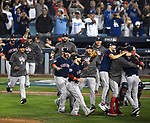 LOS ANGELES, CA - OCTOBER 28: Members of the Boston Red Sox celebrate their World Series win over the Los Angeles Dodgers at Dodger Stadium in Los Angeles, California on October 28, 2018. (Photo by Christopher Evans)