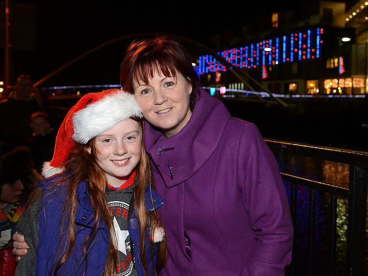 Ann and Layah Maher pictured at the fireworks display at Scotch Hall. Photo:Colin Bell/pressphotos.ie