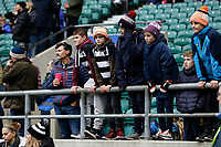 16th November 2019; Twickenham, London, England; International Rugby, Barbarians versus Fiji; Young Barbarians fans look on from inside Twickenham Stadium - Editorial Use
