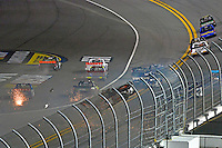 18-19 February, 2016, Daytona Beach, Florida USA<br /> Christopher Bell flips through the air on the last lap as Johnny Sauter pulls aqay for the win.<br /> ©2016, F. Peirce Williams