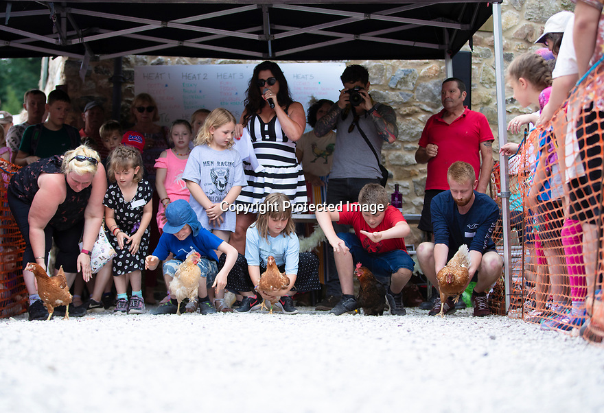 04/08/19<br /> <br /> Hundreds of spectators watch as competitors race their hens at the World Championship Hen Racing on a purpose-built track outside the Barley Mow pub in Bonsall, in the Derbyshire Peak District.<br />  <br /> All Rights Reserved, F Stop Press Ltd +44 (0)7765 242650 www.fstoppress.com rod@fstoppress.com