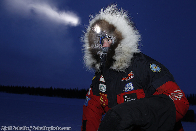 Monday March 5, 2012  Paul Gebhardt at the Finger Lake checkpoint during Iditarod 2012.