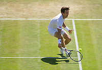 Aljaz Bedene of Great Britain in action during his defeat by Gilles Muller of Luxembourg in their Men's Singles Third Round Match today - Muller def Bedene 7-6, 7-5, 6-4<br /> <br /> Photographer Ashley Western/CameraSport<br /> <br /> Wimbledon Lawn Tennis Championships - Day 5 - friday 7th July 2017 -  All England Lawn Tennis and Croquet Club - Wimbledon - London - England<br /> <br /> World Copyright &not;&copy; 2017 CameraSport. All rights reserved. 43 Linden Ave. Countesthorpe. Leicester. England. LE8 5PG - Tel: +44 (0) 116 277 4147 - admin@camerasport.com - www.camerasport.com