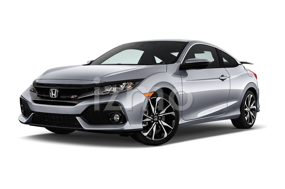 Stock pictures of low aggressive front three quarter view of a 2017 Honda Civic Si 2 Door Coupe