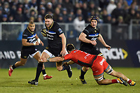 Rhys Priestland of Bath Rugby takes on the Toulon defence. European Rugby Champions Cup match, between Bath Rugby and RC Toulon on December 16, 2017 at the Recreation Ground in Bath, England. Photo by: Patrick Khachfe / Onside Images