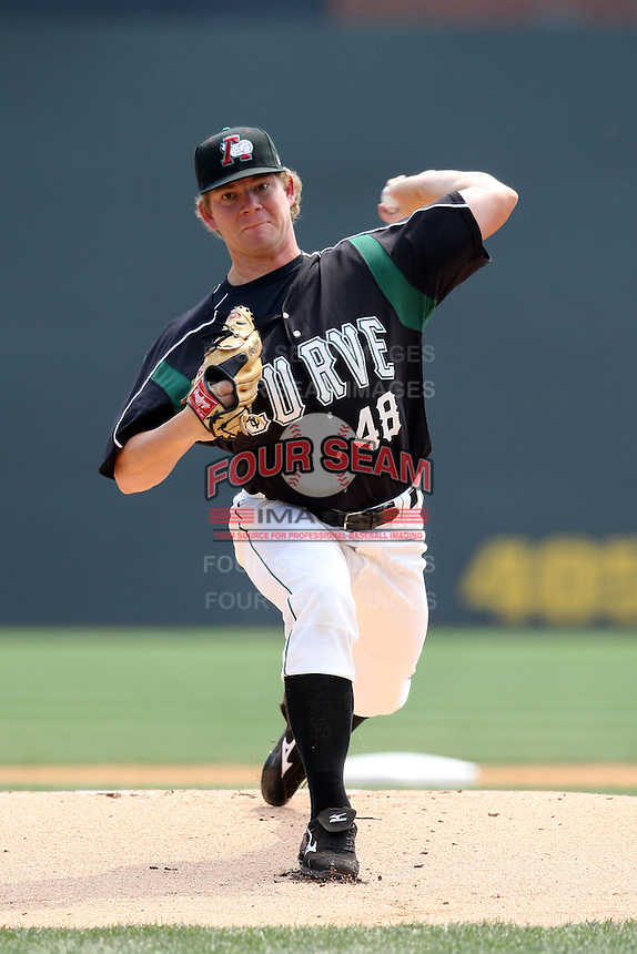April 11, 2010:  Pitcher Rudy Owens of the Altoona Curve during a game at Blair County Ballpark in Altoona, PA.  Altoona is the Double-A Eastern League affiliate of the Pittsburgh Pirates.  Photo By Mike Janes/Four Seam Images