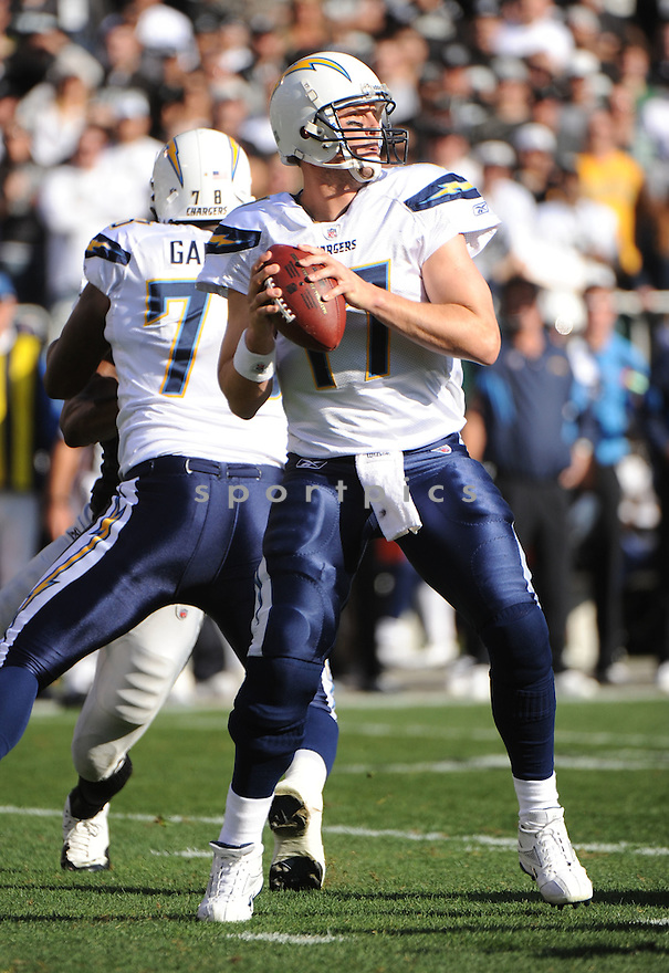 PHILIP RIVERS, of the San Diego Chargers, in action during the Chargers game against the Oakland Raiders on January 1, 2012 at O.co Coliseum in Oakland, CA. The Chargers beat the Raiders 38-26.