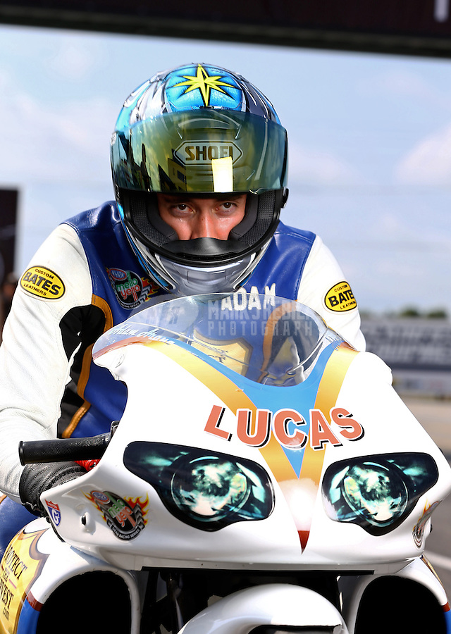 Sept. 1, 2013; Clermont, IN, USA: NHRA pro stock motorcycle rider Adam Arana during qualifying for the US Nationals at Lucas Oil Raceway. Mandatory Credit: Mark J. Rebilas-