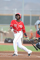 Hector Vargas #15 of the AZL Reds bats against the AZL Brewers at the Cincinnati Reds Spring Training Complex on July 5, 2014 in Goodyear Arizona. AZL Reds defeated the AZL Brewers, 7-2. (Larry Goren/Four Seam Images)