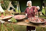 Woman cooking Historical re-enactment Saxon, Viking, Norman history, Woodbridge, Suffolk