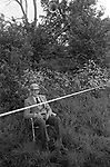 Cowdray Park Polo Club 1980s. Man watching from the side line with loud speaker above him. 1981  UK