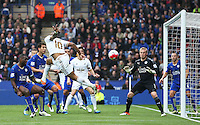 Andre Ayew of Swansea City heads wide during the Barclays Premier League match between Leicester City and Swansea City played at The King Power Stadium, Leicester on April 24th 2016