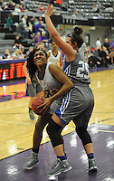 NWA Democrat-Gazette/ANDY SHUPE<br /> Fayetteville forward Jasmine Franklin (left) attempts a shot in the lane around Rogers forward Madison Sandor (25) Friday, Feb. 10, 2017, during the first half of play in Bulldog Arena. Visit nwadg.com/photos to see more photographs from the game.
