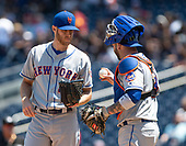 New York Mets catcher Tomas Nido (3), right, meets with starting pitcher Zack Wheeler (45), left, during the first inning against the Washington Nationals at Nationals Park in Washington, D.C. on Thursday, May 16, 2019.<br /> Credit: Ron Sachs / CNP<br /> (RESTRICTION: NO New York or New Jersey Newspapers or newspapers within a 75 mile radius of New York City)