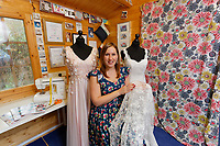 Dress designer Helen Rhiannon at her studio in the Dunvant area of Swansea, Wales, UK. Wednesday 19 December 2018