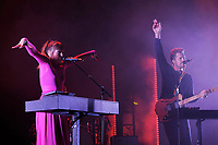 LONDON, ENGLAND - NOVEMBER 8: Josephine Vander Gucht and Anthony West of 'Oh Wonder' performing at Brixton Academy on November 8, 2017 in London, England.<br /> CAP/MPI04<br /> &copy;MPI04/Capital Pictures
