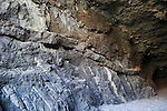 Igneous intrusive sill feature in sea cave at Ajuy, Fuerteventura, Canary Islands, Spain