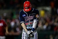 Alejandro Gonzalez de los mayos recibe una base por golpe, durante juego de beisbol de la Liga Mexicana del Pacifico temporada 2017 2018. Quinto juego de la serie de playoffs entre Mayos de Navojoa vs Naranjeros. 6Enero2018. (Foto: Luis Gutierrez /NortePhoto.com)