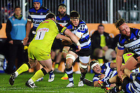Josh Bayliss of Bath Rugby takes on the Leicester Tigers defence. Anglo-Welsh Cup match, between Bath Rugby and Leicester Tigers on November 4, 2016 at the Recreation Ground in Bath, England. Photo by: Patrick Khachfe / Onside Images