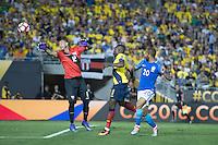 Action photo during the match Brazil vs Ecuador, Corresponding Group -B- America Cup Centenary 2016, at Rose Bowl Stadium<br /> <br /> Foto de accion durante el partido Brasil vs Ecuador, Correspondiante al Grupo -B-  de la Copa America Centenario USA 2016 en el Estadio Rose Bowl, en la foto: (i-d) Esteban Dreer, Walter Ayovi de Ecuador y Lucas Moura de Brasil<br /> <br /> <br /> 04/06/2016/MEXSPORT/Omar Martinez.