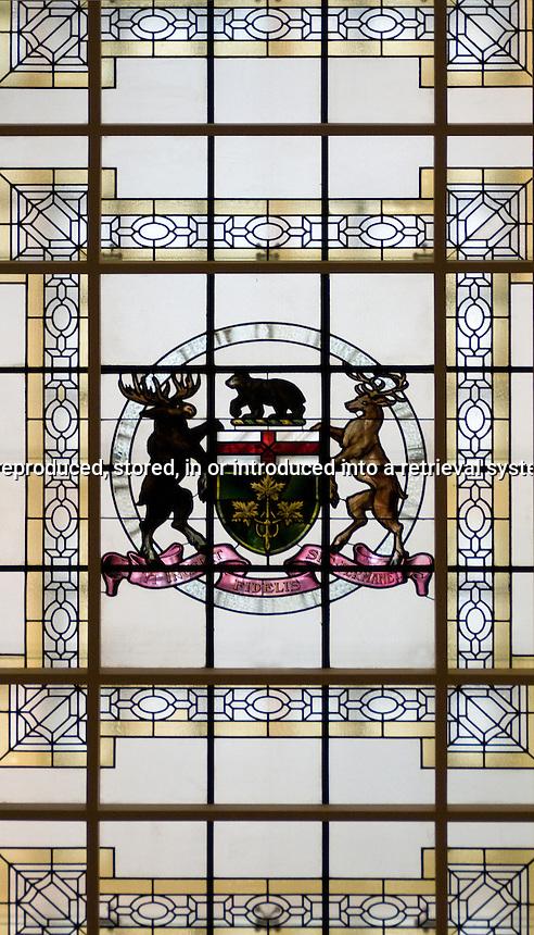 Ontario Coat of Arms in a glass ceiling Queen's Provincial Legislature Toronto Ontario Canada North America