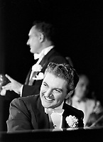 Liberace at piano during concert, Milwaukee, 1953. Photographer John G. Zimmerman