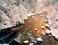 Snowfall on North Santiam River, Oregon
