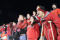 Maryland fans support their team. The University of Maryland Terrapins defeated the Southern Methodist University Mustangs 4-1 in a Men's College Cup Semifinal at SAS Stadium in Cary, NC, Friday, December 9, 2005.
