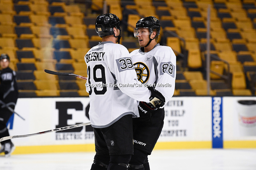 September 22, 2015 - Boston, Massachusetts, U.S. - Boston Bruins left wing Matt Beleskey (39) and left wing David Pastrnak (88) talk during the Boston Bruins training camp held at TD Garden, in Boston, Massachusetts. Eric Canha/CSM