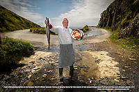 Paidi O'Se in wellies and bib photographed at the famous 'Devil's Elbow' outside Ventry in County Kerry for the launch of the annual Dingle Food Festival and Blas na h-Eireann awards which will take place at the end September. The Dingle Food Fesitval will feature 50 taste trails, with Dingle pies and local brews a speciality. The Food Awards celebrate the quality and imagination of the best of Irish Food. Reserve your table on www.dinglefood.com. <br /> Picture by Don MacMonagle