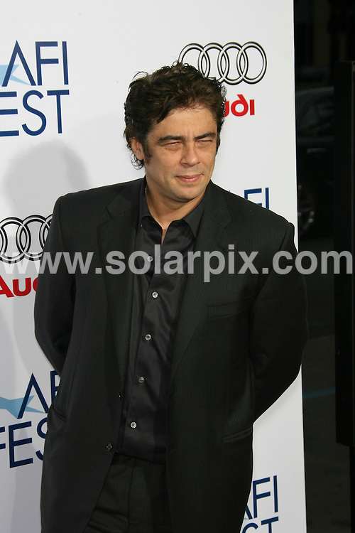"**ALL ROUND PICTURES FROM SOLARPIX.COM**.**SYNDICATION RIGHTS FOR UK, SPAIN, PORTUGAL, AUSTRALIA, S.AFRICA & DUBAI (U.A.E) ONLY**.2008 AFI FEST Los Angeles Premiere of ""Che"" - Grauman's Chinese Theater - Hollywood. 1st November 2008..This pic: Benicio Tel Toro..JOB REF: 7785 PHZ (Hatcher)   DATE: 01_11_2008.**MUST CREDIT SOLARPIX.COM OR DOUBLE FEE WILL BE CHARGED* *UNDER NO CIRCUMSTANCES IS THIS IMAGE TO BE REPRODUCED FOR ANY ONLINE EDITION WITHOUT PRIOR PERMISSION*"