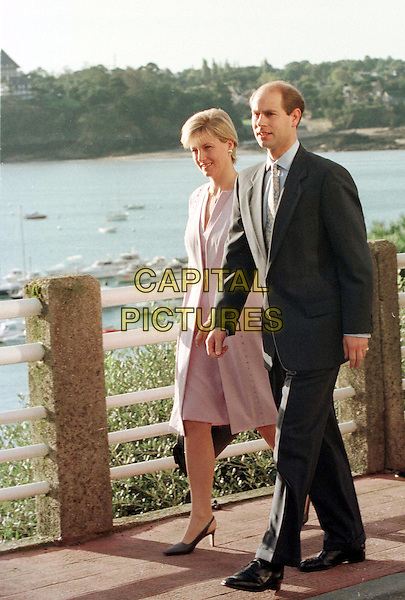 SOPHIE RHYS JONES & PRINCE EDWARD .Ref:8912.Photo: Saddri.Ref: STF.full length, full-length, walking, marsh, lake, water.www.capitalpictures.com.sales@capitalpictures.com.©Capital Pictures
