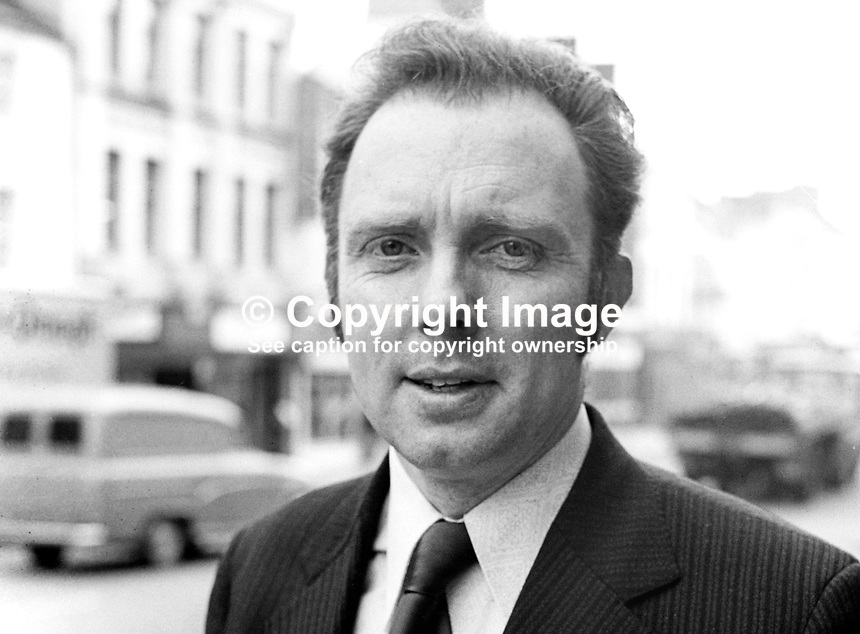Neville Thornton, pro-Assembly Ulster Unionist candidate, Mid-Ulster, in 1974 UK General Election. Taken February 1974. 197402000133<br />