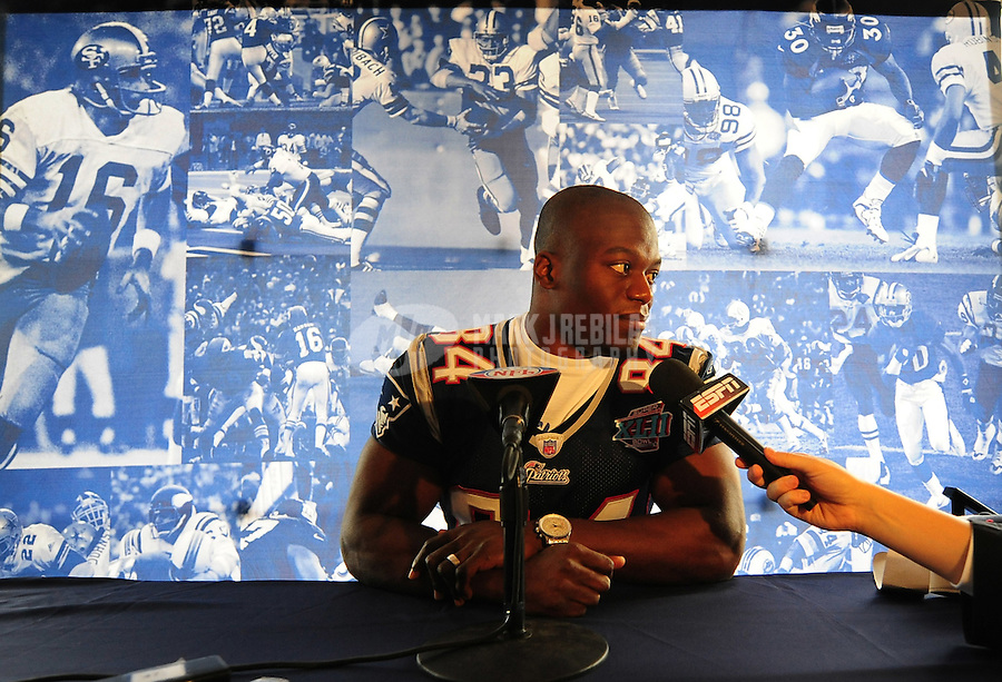 Jan 30, 2008; Scottsdale, AZ, USA; New England Patriots tight end Benjamin Watson (84) answers questions during a team press conference at the Westin Kierland Resort. The New England Patriots will face the New York Giants Sunday February 3, 2008. Mandatory Credit: Mark J. Rebilas-US PRESSWIRE