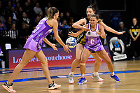 Pulse&rsquo; Karin Burger and Stars&rsquo; Temepara Bailey  in action during the ANZ Premiership - Pulse v Stars at TSB Arena, Wellington, New Zealand on Monday 13 May 2019. <br /> Photo by Masanori Udagawa. <br /> www.photowellington.photoshelter.com