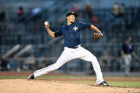 Starting pitcher Justin Brantley (4) of the Columbia Fireflies delivers a pitch in a game against the Charleston RiverDogs on Monday, August 7, 2017, at Spirit Communications Park in Columbia, South Carolina. Columbia won, 6-4. (Tom Priddy/Four Seam Images)