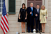 U.S. First Lady Melania Trump, from left, U.S. President Donald Trump, Emmanuel Macron, France's president, and Brigitte Macron, France's first lady, stand for photographers outside the Mansion at the Mount Vernon estate of first U.S. President George Washington in Mount Vernon, Virginia, U.S., on Monday, April 23, 2018. As Macron arrives for the first state visit of Trumpís presidency, the U.S. leader is threatening to upend the global trading system with tariffs on China, maybe Europe too. Photographer: Andrew Harrer/Bloomberg<br /> Credit: Andrew Harrer / Pool via CNP