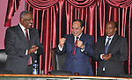 A handout picture made available by the Office of the Egyptian Presidency shows the Egyptian President, Abdel Fattah al-Sisi, attends The Ethiopian Parliament in Ethiopia in Ethiopia's capital Addis Ababa, March 25, 2015. Photo by Egyptian presidency