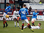09.12.2018 Dundee v Rangers: Ryan Jack's shot hits off Ovie Ejaria
