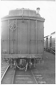 #54 baggage &amp; RPO car at Alamosa.  Mail end view of car.<br /> D&amp;RGW  Alamosa, CO  Taken by Maxwell, John W. - 7/4/1948