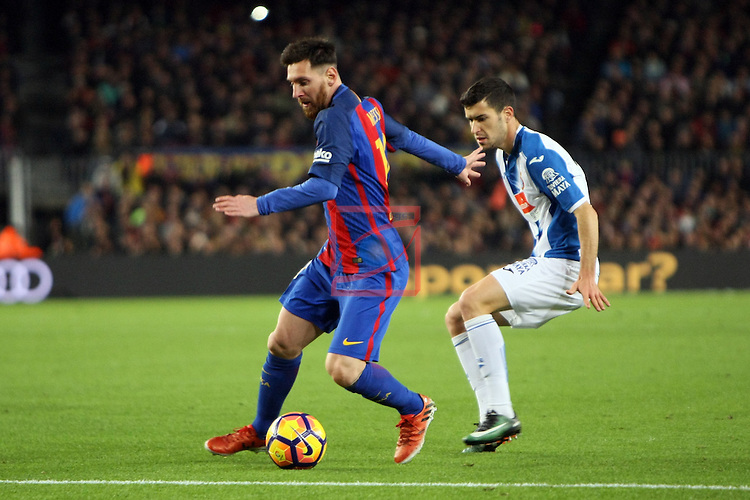 League Santander 2016/2017. Game: 16.<br /> FC Barcelona vs RCD Espanyol: 4-1.<br /> Lionel Messi vs Aaron Martin.