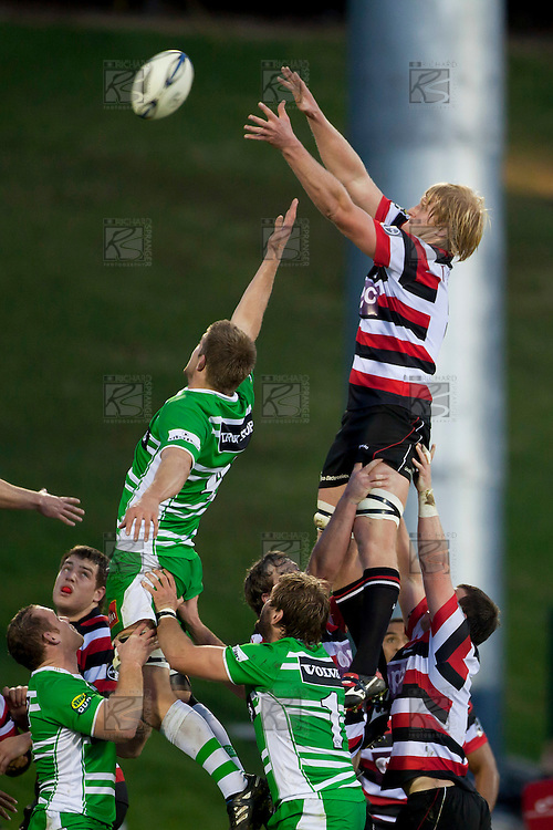 Steelers Captain Jamie Chipman goes high at lineout time. ITM Cup rugby game between Counties Manukau and Manawatu played at Bayer Growers Stadium on Saturday August 21st 2010..Counties Manukau won 35 - 14 after leading 14 - 7 at halftime.