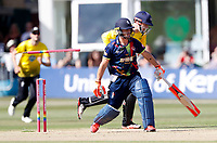 Heino Kuhn of Kent is bowled by Graeme van Buuren during the Vitality Blast T20 game between Kent Spitfires and Gloucestershire at the St Lawrence Ground, Canterbury, on Sun Aug 5, 2018