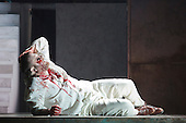 """Pictured: Roland Wood as Oedipus, the King. Dress rehearsal of Thebans. English National Opera gives world premiere of British composer Julian Anderson's first opera """"Thebans"""" at the London Coliseum. Thebans is based on the three Theban plays by Sophocles that chronicle the cursed life of Oedipus and his daughter Antigone. Thebans opens at the London Coliseum on 3 May 2014 for 7 performances. The new production is supported by The Boltini Trust, PRS for Music Foundation and ENO's Contemporary Opera Group, a co-production with Theater Bonn in Germany. With Roland Wood as Oedipus, Peter Hoare as Creon (Jocasta's brother), Matthew Best as Tiresias (blind prophet), Susan Bickley as Jocasta (Oedipus' mother/wife) and Julia Sporsen as Antigone (Oedipus' daugher). Score by Julian Anderson, libretto by Frank McGuinness, directed by Pierre Audi and conducted by Edward Gardner."""