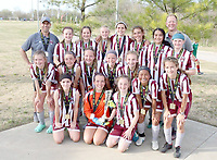 The Siloam Springs FC U14 Select Girls recently won the Lexus Cup Tournament in Tulsa, Okla. After a hard-fought 2-0 overtime semifinal win vs Wichita Athletics, the girls were victorious over Broken Arrow United, winning 3-1 in the final. Pictured are: Front from left, Bailey Chopper, Ahnaka Buxton, Addison Pilcher, Natalie Ross, Isabella Anglin-Rovira, Chloe Botts, Jetta Broquard, Cailee Johnson, Rin Bos, Shelby Smith; back, coach Dwayne Buxton, Chaney Stanaland, Abbie Hutto, Ellen Slater, Caroline Buxton, Anna Wleklinski, Abby Ballesteros, Kylie Criner, and coach Andre Broquard. Not pictured is Jaslynn Brenes.
