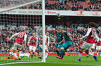 Southampton's Charlie Austin scoring second goal for his team during the EPL - Premier League match between Arsenal and Southampton at the Emirates Stadium, London, England on 8 April 2018. Photo by Andrew Aleksiejczuk / PRiME Media Images.