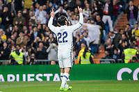 Isco Alarcon of Real Madrid celebrates after scoring a goal during the match of Spanish La Liga between Real Madrid and UD Las Palmas at  Santiago Bernabeu Stadium in Madrid, Spain. March 01, 2017. (ALTERPHOTOS / Rodrigo Jimenez) /NortePhoto.com