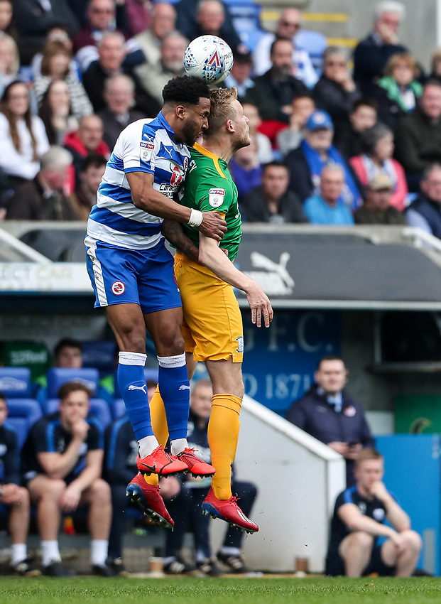Preston North End's Jayden Stockley competing with Reading's Liam Moore <br /> <br /> Photographer Andrew Kearns/CameraSport<br /> <br /> The EFL Sky Bet Championship - Reading v Preston North End - Saturday 30th March 2019 - Madejski Stadium - Reading<br /> <br /> World Copyright © 2019 CameraSport. All rights reserved. 43 Linden Ave. Countesthorpe. Leicester. England. LE8 5PG - Tel: +44 (0) 116 277 4147 - admin@camerasport.com - www.camerasport.com